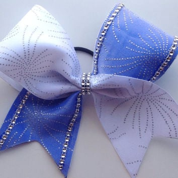 Blue and White Rhinestoned Firework Cheer Bow