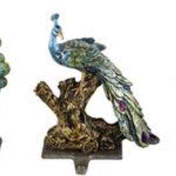 Peacock Stocking Holders - Set of 3 - Stocking & Wreath Hangers - Holiday Decor - Holiday | HomeDecorators.com