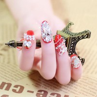 24pcs/Set Rhinestone Bride Nail Art Design Red Lace Long Full Cover Artificial Fake Nails Tips with Glue Sticker