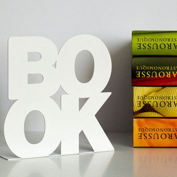 Modern stylish bookend BookOne White coated laser cut metal strong enough to hold books