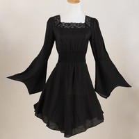 women lace hippielong sleeves boho clothing black white tunic dress