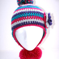 Earflap Toddler Girl hat pom pom hat, striped childs hat crochet Custom 12-36 months Made to order