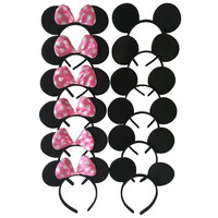 12pcs Mickey Minnie Mouse Ears Solid Black and Pink Bow Headband  Boys and Girls Headwear for Birthday Party or Celebrations