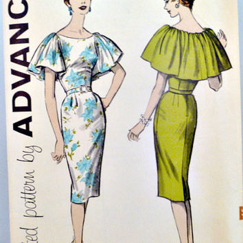 60s One Piece Wiggle Dress Pattern Advance 9359 Bateau Front and Capelet Back Neckline and Sleeves Sewing Patterns Size 12 Bust 32
