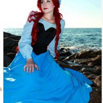 New 2017 Ariel The Little Mermaid Dress Women Adult Blue Princess Ariel Dress Fantasia Halloween Cosplay Costume