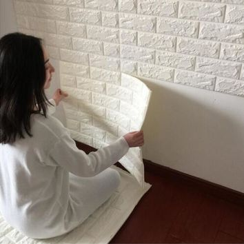 3D Wall Paper Brick Stone Wall Stickers Kindergarten Bedroom Wallpaper Art DIY Self-adhesive Elastic Brick Anti-collision White