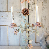 Distressed rusty toleware candelabra shabby cottage chic light pink roses candle holder w/ light sea washed green leaves anita spro design