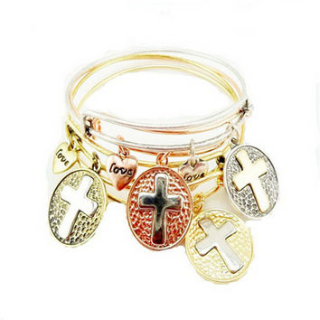 Womens Mens Fashion Casual Adjustable Vintage Cross Bracelet Best Gift
