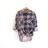 Vintage purple Plaid Flannel / Grunge Shirt / washed out button up shirt