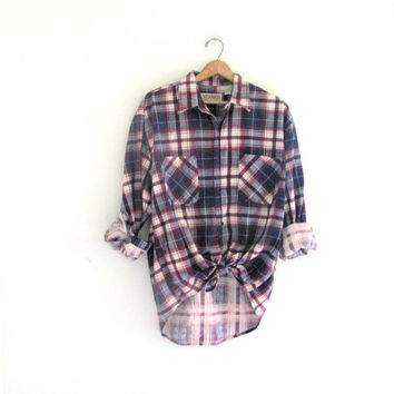 Vintage Purple Plaid Flannel Grunge From