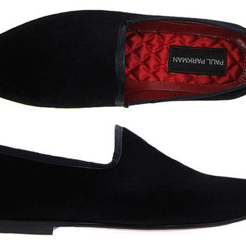 Paul Parkman Men's Slipper Shoes Black Velvet Upper & Leather Sole