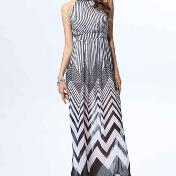Striped Halter Chiffon Maxi Dress
