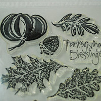 "Cling Stamps Fall Halloween Thanksgiving Unused New in Package ""Thanksgiving Blessings"""
