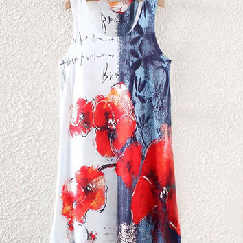 White And Red Floral Print Sleeveless Shirt