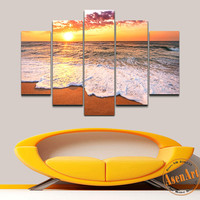 5 Panel Seaside Painting Sunset Painting Wall Art Canvas Prints Picture for Bedroom Modern Home Decor Unframed