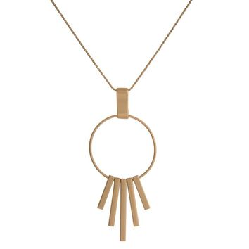 Circle Pendant and Fanned Metal Fringe Necklace