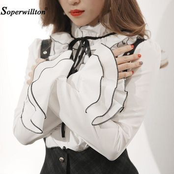 The New 2017 Women Blouse Shirt Chiffon Stand Elegant Office Work Top Fashion Long Puff Sleeve Ruffles Bow Blouses Formal Blusas