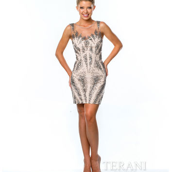 Terani 1521H1027 Silver & Nude Sleeveless Beaded Fitted Short Dress 2015 Homecoming Dresses