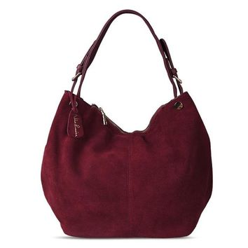 Women Real Split Suede Leather Hobo Bag New Design Large Shoulder Bags Casual Handbag Sac