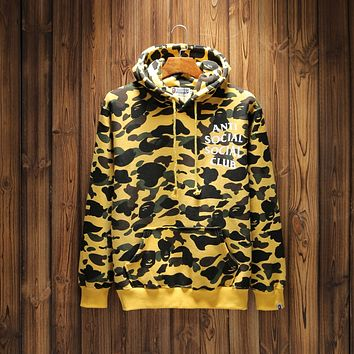 BAPE x ANTI SOCIAL SOCIAL CLUB Joint color hooded pullover sweater F-A-KSFZ Camouflage yellow