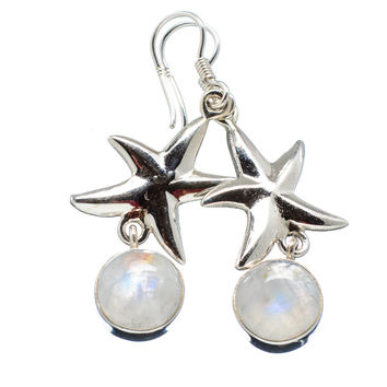 Rainbow Moonstone Starfish Sterling Silver Earrings - keja jewelry