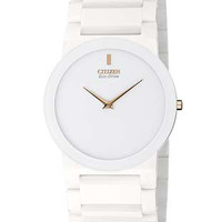 Citizen Eco-Drive Stiletto Blade Unisex Watch - White Ceramic and Rose Gold-Tone