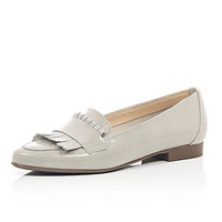 River Island Womens Grey patent leather tassel loafers