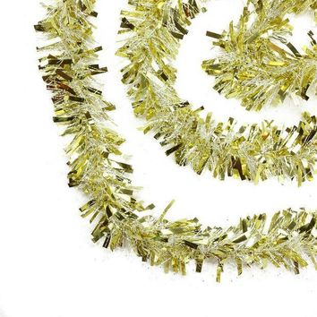 MDIGMS9 50' Festive Gold and White Thick Cut Christmas Tinsel Garland - Unlit - 6 Ply