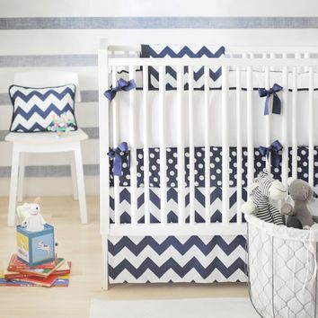 New Arrivals Zig Zag Baby in Navy Baby Bedding