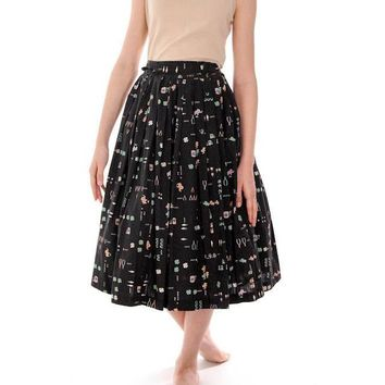 """Vintage Pleated Cotton """" Lucky"""" Skirt 1950s Black w/Print Small"""