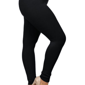 High Waist Solid Fleece Lined Leggings Plus Size