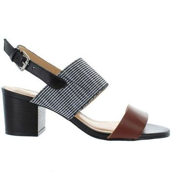 CREYONIG Chelsea Crew Elle - Tan/Black Leather Sling-Back Sandal