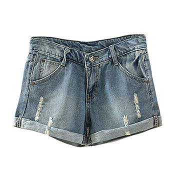 Denim Ripped Rolled Up Shorts
