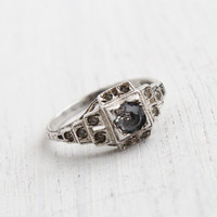 Antique Art Deco Sterling Silver Faux Diamond Ring - Vintage 1930s Size 7 1/2 Clear Glass Rhinestone Jewelry / Designer Uncas