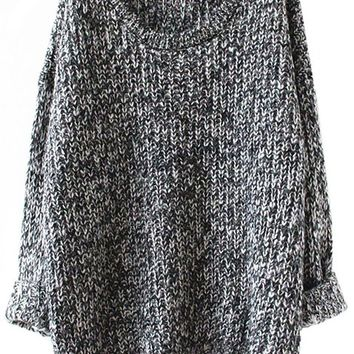 Sheinside Grey Long Sleeve Loose Sweater