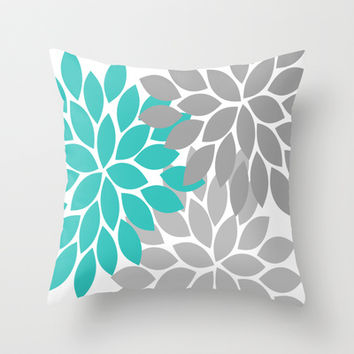 Bold Colorful Turquoise Gray Dahlia Flower Burst Petals Throw Pillow by TRM Design