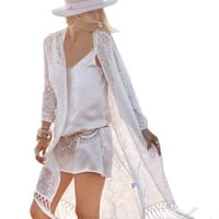 Women's Beige Boho Lace Long Duster Cardigan Kimono with Fringe