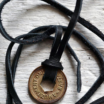 Vintage Amusement Token Necklace - Mens Necklace - Vintage Token Coin - Choose Your Cord Color - Amuzement Only