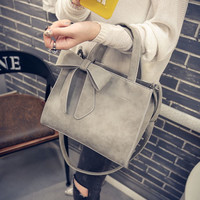 Bowknot Gray Leather Handbag Crossbody Shoulder Bag