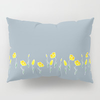 Row of yellow tulips on dusk blue. Pillow Sham by Siret