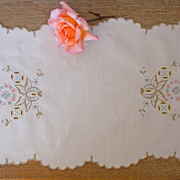 Linen Tray Cloth Embroidered Floral Vintage Table Centre Small Tablecloth Runner Natural Ecru Blue Pink