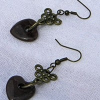 Varigated Reddish Brown Heart and Antique Brass Fishhook Earrings
