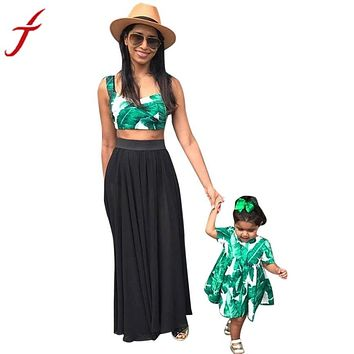 Hot Sale Family Mommy And Me Women Short Cami Top Sleeveless Printed Blouse Casual Green Shirt Female Camis Short Vest