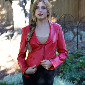 Red Leather Couture Jacket    Cowgirl Boho Western Wear   Fall Winter Leathers   Red Tuxedo Style Jacket    Street Chic Jackets   Size S M