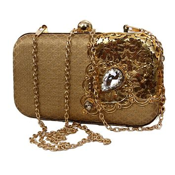 Womens Evening Golden Clutch Bag Wedding Purse Bridal Prom Handbag Party Bag Sparkling Handbag