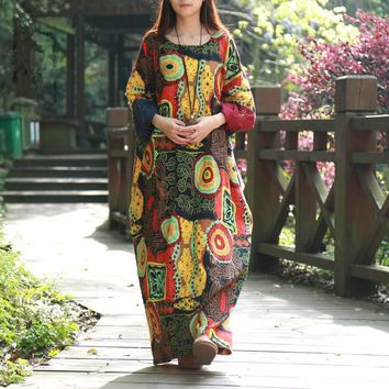 2016 Spring Women Dress Batwing Sleeve Maxi Dress O-neck Abstract Printing Cotton Linen Ethnic Robe Vestidos Long Dress Elbise