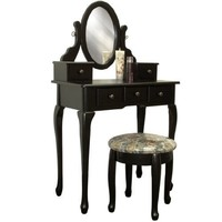 Best Choice Products® Black Vanity Table Set Jewelry Armoire Makeup Desk Bench Drawer