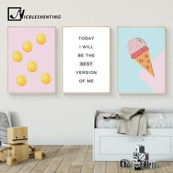 Cartoon Food Ice Cream Motivational Wall Art Canvas Posters Prints Painting Nursery Picture Kids Bedroom Decoration Home Decor
