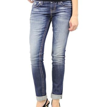 Miss Me Boyfriend Ankle Denim With Embellished Flap Pocket