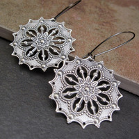 round Silver Gypsy earrings  Bohemian Jewelry
